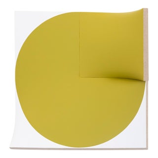 "Jan Maarten Voskuil, ""Improved Flat Out Pointless Cut-Out Yellow-Green,"" 2015–2019, Acrylic on Linen, 23.75 X 23.75 X 6 Inches For Sale"