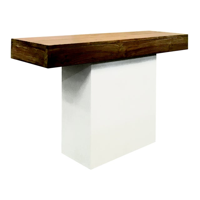 Modern Sumatra Outdoor Console Table, White For Sale - Image 3 of 3