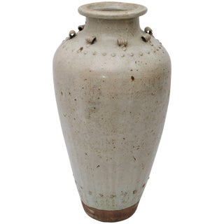 Large Scale Thai Glazed Earthen Ware Urn Putty Colored For Sale