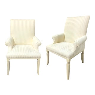 Vintage Henredon Cream Striped Side Chair - a Pair For Sale