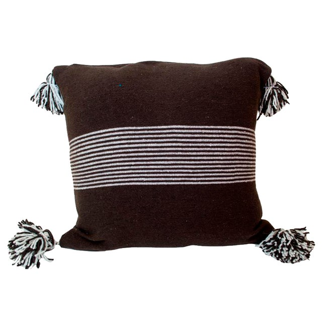 Moroccan White Striped Brown Pom Pom Pillow For Sale