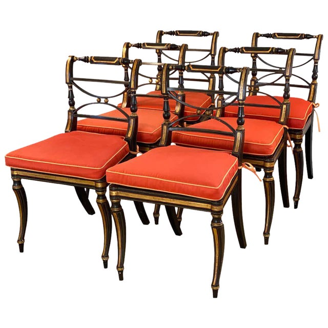 Regency Parcel-Gilt Rosewood-Grained Caned Side Chairs- Set of 6 For Sale