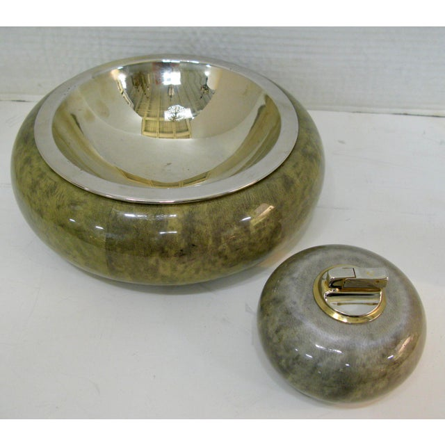 Mid-Century Modern Brass Bowl With & Cigarette Lighter Set, Jade Green Goat Skin by Aldo Tura For Sale - Image 3 of 13