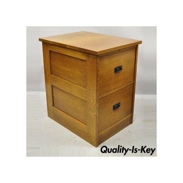 L&j G Stickley Arts & Crafts Mission Oak Wood Two Drawer Office File Cabinet For Sale - Image 13 of 13