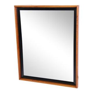 Paul Frankl for John Stuart by Johnson Furniture Cherry & Black Lacquered Modern Deco Vanity Mirror For Sale