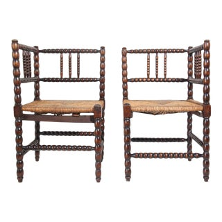 French Provincial Corner Chairs - a Pair For Sale