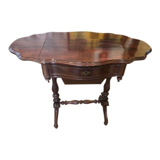 1900s Victorian Mahogany Sewing Table Work Stand For Sale