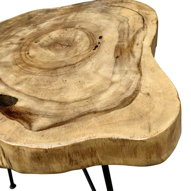 Rustic Live Edge Pine Slab End Table For Sale - Image 6 of 13