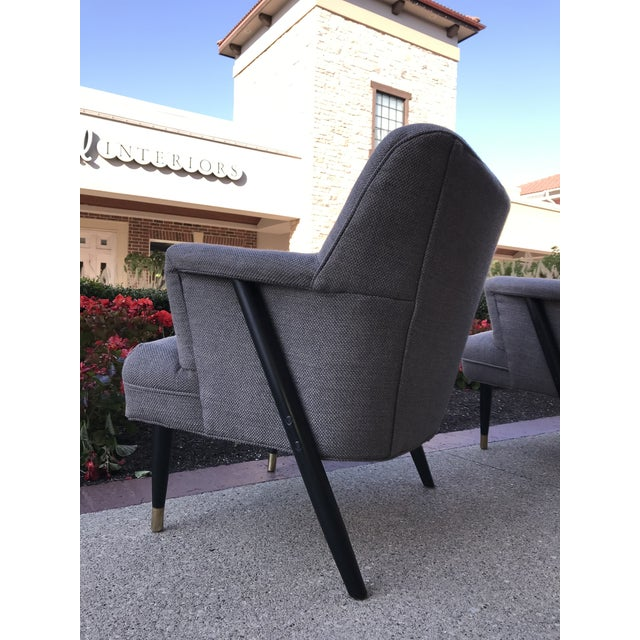 Mid Century Modern Vintage Gray Tweed Dunbar Era Occasional Club Chairs- a Pair MCM For Sale - Image 6 of 8