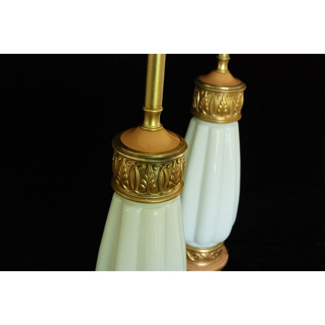 Gold Rembrandt Milk Glass Torchiere Lamps - A Pair For Sale - Image 8 of 8
