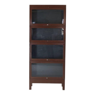 1970s Mid-Century Modern Tall Metal Six Sections Barrister Bookcase For Sale