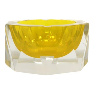 Yellow Mandruzzato Faceted Sommerso Ashtray For Sale