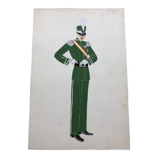 1930s Vintage Lester Design Company Costume Watercolor Painting For Sale