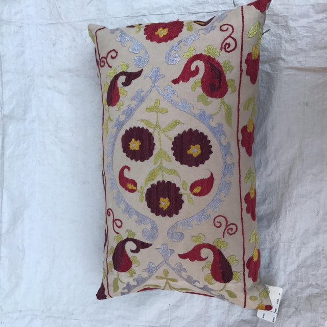 Antique Embroidered Suzani Pillow For Sale In Los Angeles - Image 6 of 11