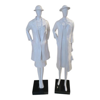 White Satin Suited Women Statues - A Pair For Sale