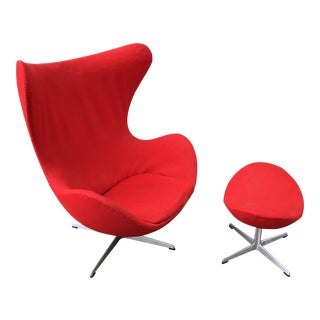Arne Jacobsen Egg Chair and Ottoman For Sale