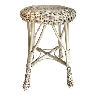 Vintage White Woven Wicker Stool For Sale