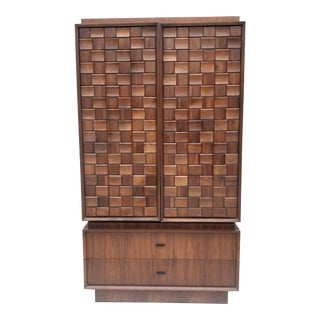 Mid-Century Brutalist Armoire in Walnut For Sale