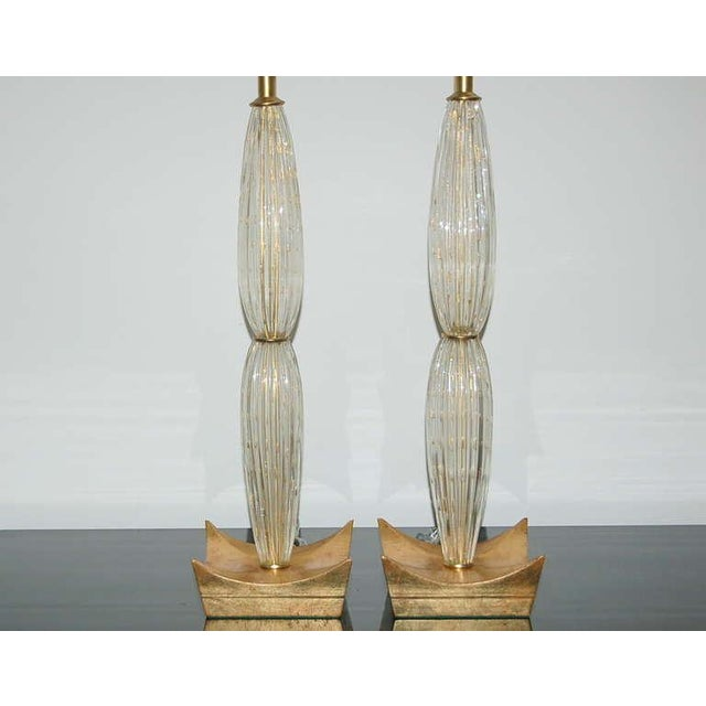 Vintage Murano Glass Table Lamps Champagne For Sale - Image 4 of 10