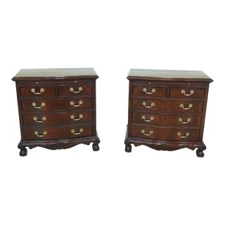 Pair Drexel Heritage Ball & Claw Mahogany Nightstands For Sale