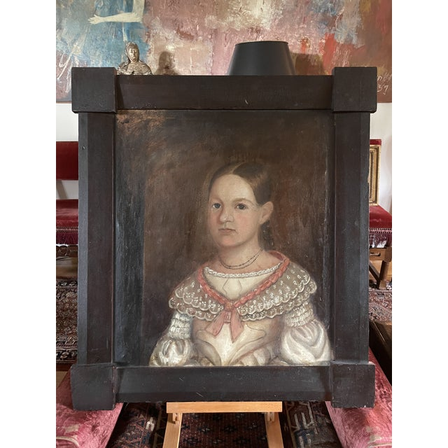 Early 19th Century American Folk Art Portrait Oil Painting of a Girl, Framed For Sale - Image 13 of 13