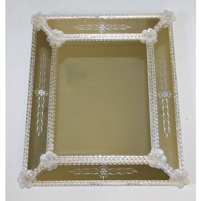 1960s Italian Murano Venetian Floral Etched Wall Mirror For Sale - Image 11 of 12