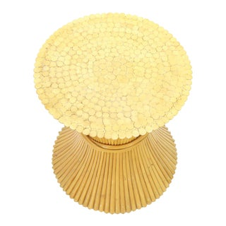 McGuire Sheaf of Bamboo Wheat Round Dining Table Base For Sale