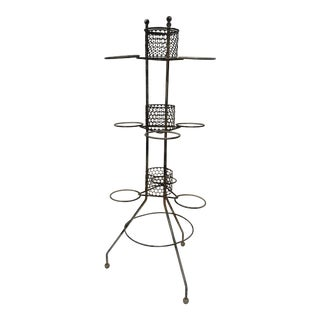 Vintage Mid Century Atomic PIant Stand Industrial Iron Planter For Sale