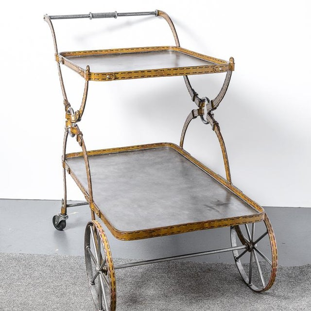 Hollywood Regency Mid-Century Faux Leather Iron Two tTier Bar Cart, Rare For Sale - Image 3 of 13
