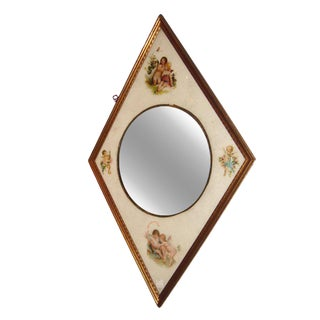 French Secret Society Diamond Shape Mirror For Sale
