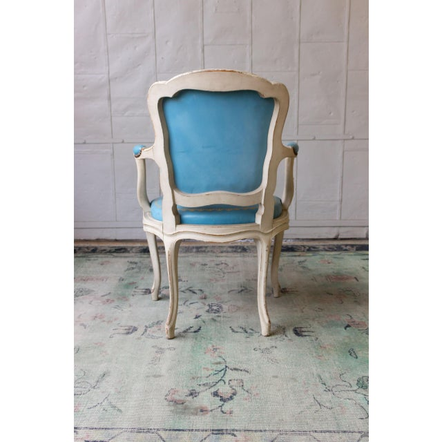 Metal 1960s Louis XV Style Blue Leather Armchairs - Set of 4 For Sale - Image 7 of 12