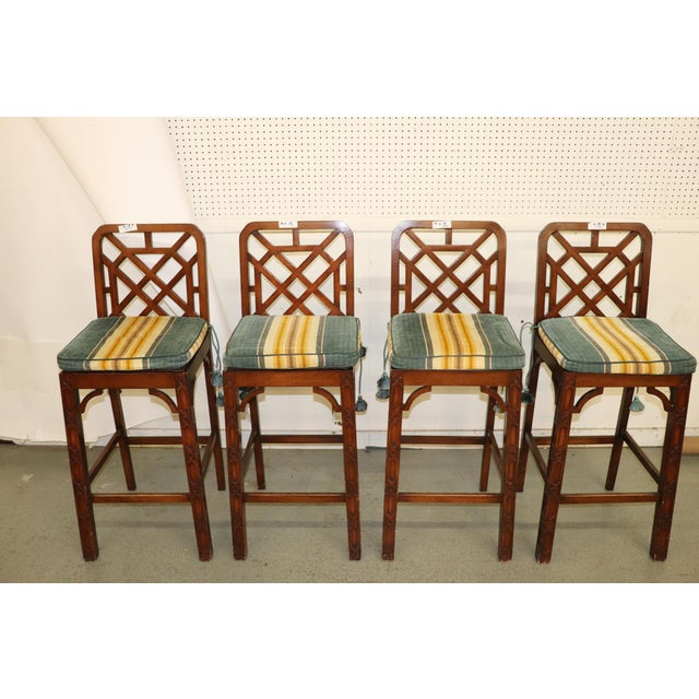 Late 20th Century Chinese Chippendale Fretwork Bar Stools- Set of 4 For Sale - Image 4 of 7