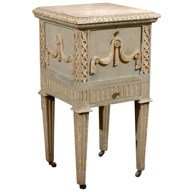 French Drop-Front Nightstand Table on Casters and Marble Top For Sale - Image 11 of 11