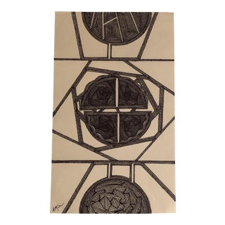Original Ink Drawing Abstract by Outsider Mitch Michener For Sale