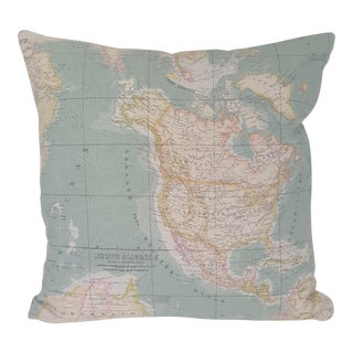 North America Map Square Pillow For Sale