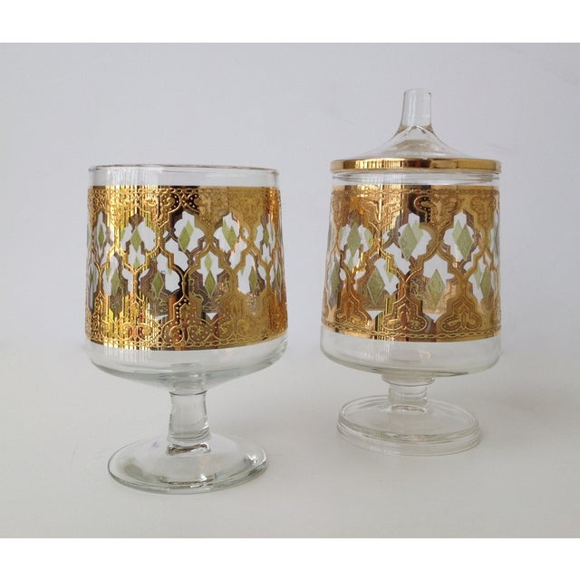 "Culver ""Valencia"" Gilt Footed Containers - Pair - Image 3 of 9"