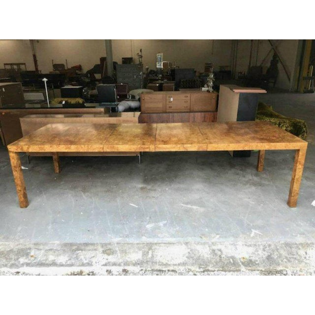 Milo Baughman for Directional Burl Wood Parsons Dining Table with Two Boards - Image 6 of 10