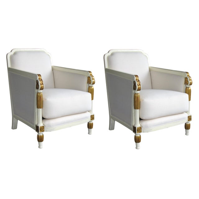 1930s Vintage French Art Deco Ivory Lacquered and Parcel-Gilt Settee For Sale In San Francisco - Image 6 of 7