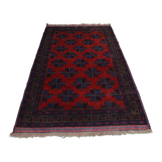 Vintage Afghan Hand Knotted Rug - 4′1″ × 6′10″ For Sale