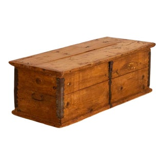 Antique Small Pine Trunk or Narrow Box For Sale