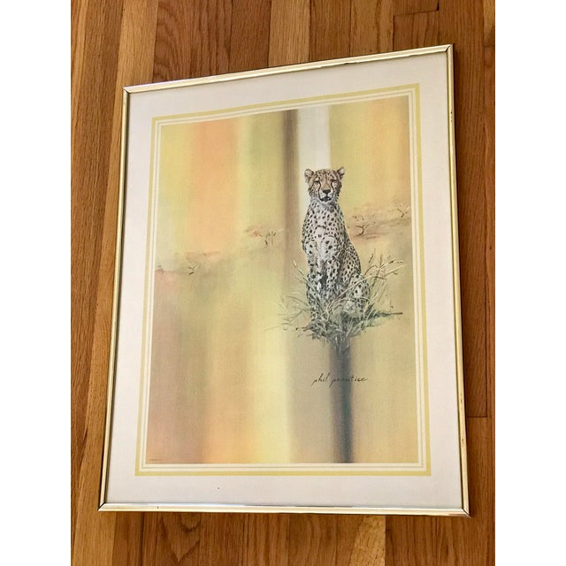 1970s Tiger, cheetah or leopard vintage print or watercolor. Framed in simple gold frame 1972. Golden tones. Beautiful...