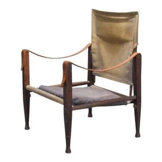 1930s Vintage by Kaare Klint for Rud Rasmussen Canvas Safari Easy Chair For Sale