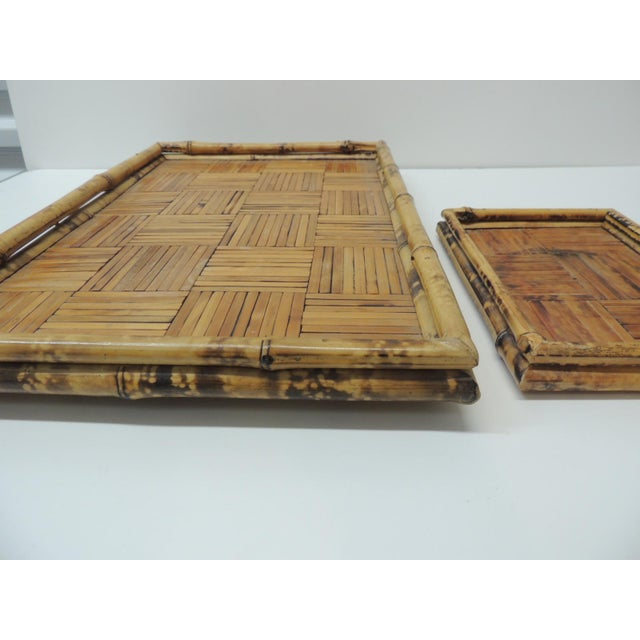 1980s Set of Two Faux Tortoise Bamboo Serving Trays For Sale - Image 5 of 7