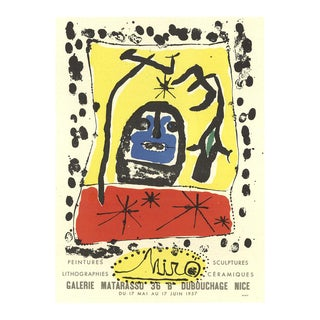 """JOAN MIRO Lithographies 12.5"""" x 9.5"""" Lithograph 1959 Surrealism Multicolor - a Pair For Sale"""