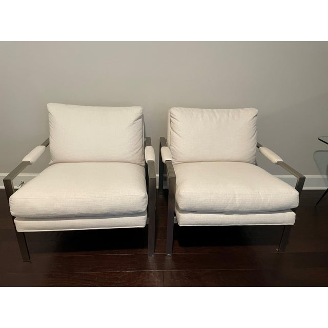 White Milo Baughman 951 Lounge Design Classic Chairs - a Pair For Sale - Image 8 of 8