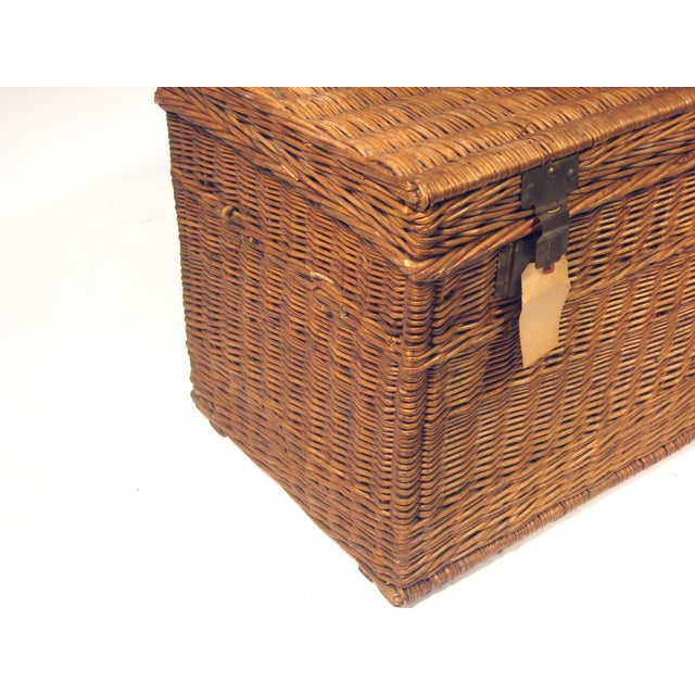 Large Antique French Wicker Trunk - Image 5 of 6