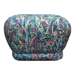 1980's Abstract Karl Springer Style Pouf Ottoman For Sale