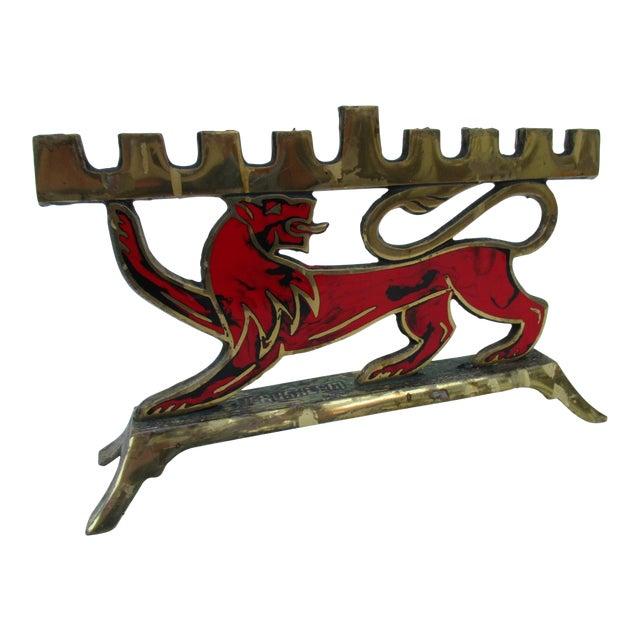 Hen Holon Brass & Enamel Lion Menorah - Image 1 of 9