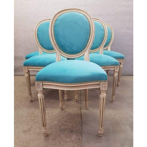 1940s Antique French Reupholstered Whitewashed Louis XVI Medallion Dining Chairs - Set of 6 For Sale - Image 5 of 13