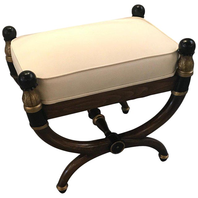 1940s Vintage Italian Walnut Parcel-Gilt Neoclassical Bench For Sale